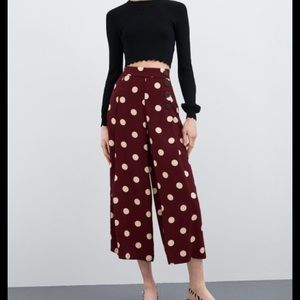 Zara cropped wide leg pants with polka dots